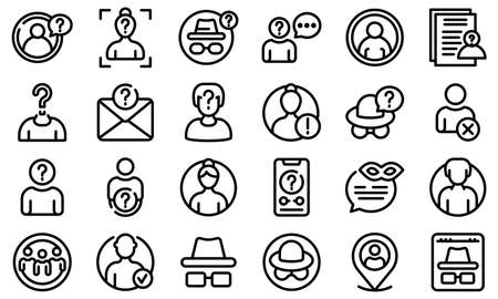 Anonymous icons set. Outline set of anonymous vector icons for web design isolated on white background