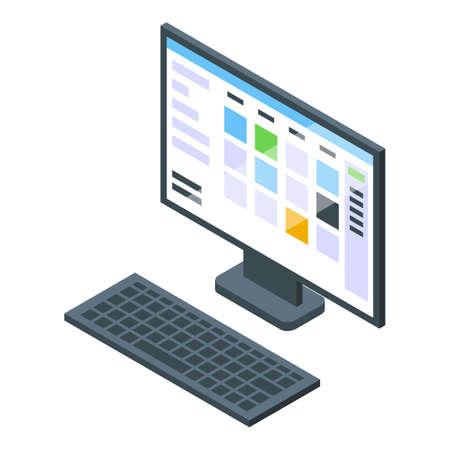 Task schedule computer icon. Isometric of Task schedule computer vector icon for web design isolated on white background Vektorgrafik