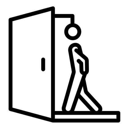 Walk through evacuation door icon. Outline Walk through evacuation door vector icon for web design isolated on white background Vector Illustratie