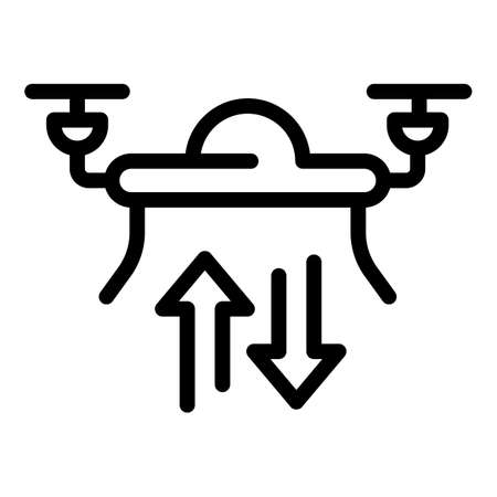 Flying drone icon. Outline Flying drone vector icon for web design isolated on white background Vettoriali