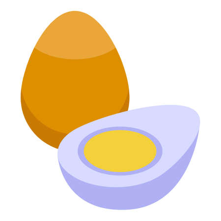 Vitamin d boiled eggs icon. Isometric of Vitamin d boiled eggs vector icon for web design isolated on white background