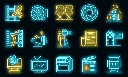 Cameraman icons set. Outline set of cameraman vector icons neon color on black Ilustración de vector