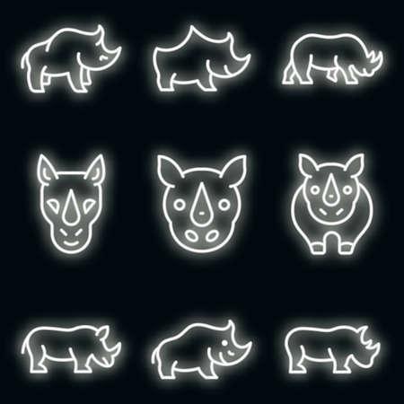 Rhino icons set. Outline set of rhino vector icons neon color on black