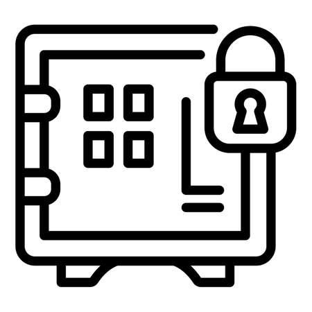 Deposit room padlock safe icon. Outline Deposit room padlock safe vector icon for web design isolated on white background
