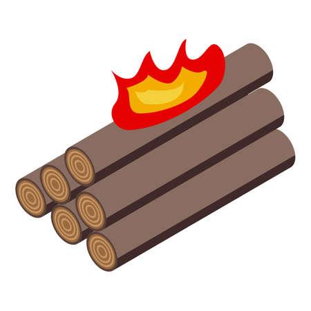 Burning logs icon. Isometric of Burning logs vector icon for web design isolated on white background Vektoros illusztráció