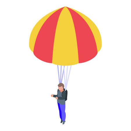 Man with parachute icon. Isometric of Man with parachute vector icon for web design isolated on white background