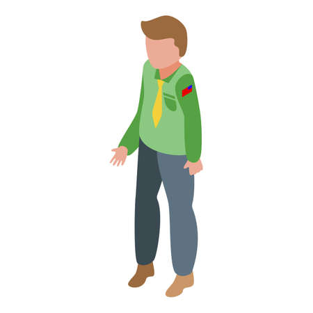 Scouting boy icon isometric vector. Scout kid character. Happy ranger Vector Illustratie