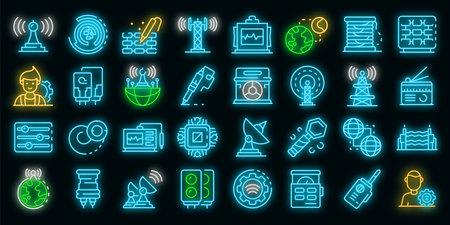 Radio engineer icons set. Outline set of radio engineer vector icons neon color on black Vector Illustration