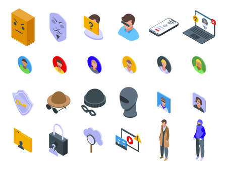 Anonymous icons set isometric vector. Human hidden. Incognito identity information