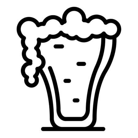 Full beer mug icon outline vector. Foam glass. Pint toast Vector Illustration
