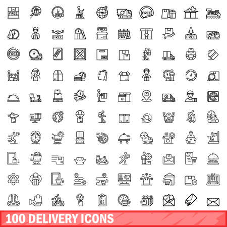 100 delivery icons set. Outline illustration of 100 delivery icons vector set isolated on white background