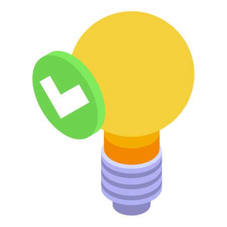 Business idea bulb icon isometric vector. Light lamp. Bright think Vecteurs