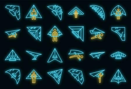 Hang glider icon. Outline hang glider vector icon neon color on black Vecteurs