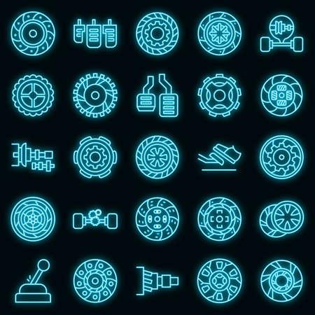Clutch icon. Outline clutch vector icon neon color on black Vektoros illusztráció