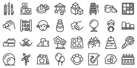 Fine motor skills icons set outline vector. Kids development. Childhood activity Vecteurs