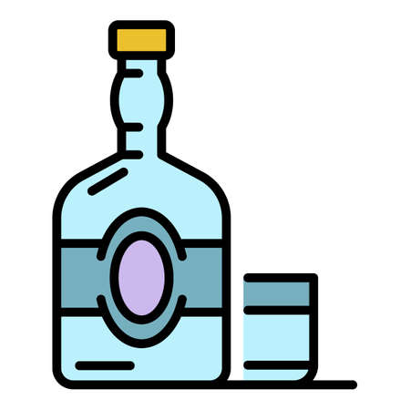 Old whisky bottle icon. Outline old whisky bottle vector icon color flat isolated on white