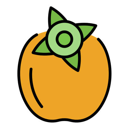 Fresh persimmon icon. Outline fresh persimmon vector icon color flat isolated Vecteurs