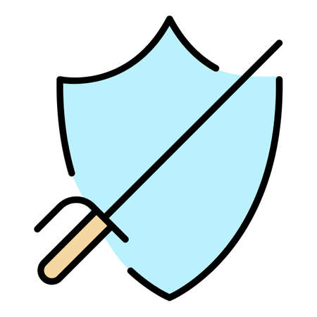 Defence fencing icon. Outline defence fencing vector icon color flat isolated