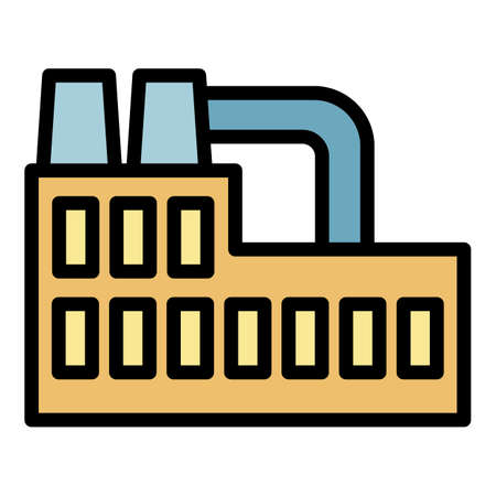 Recycling plant icon. Outline recycling plant vector icon color flat isolated