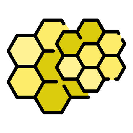 Honey comb icon. Outline honey comb vector icon color flat isolated Vektoros illusztráció