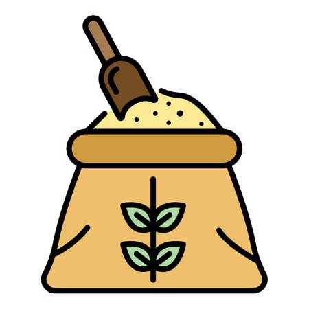 Flour sack icon. Outline flour sack vector icon color flat isolated