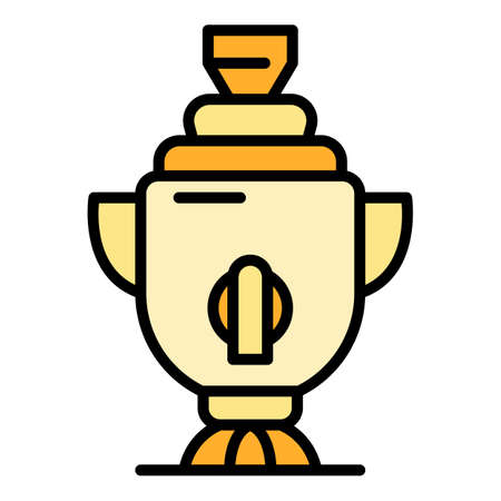 Russian samovar icon. Outline russian samovar vector icon color flat isolated