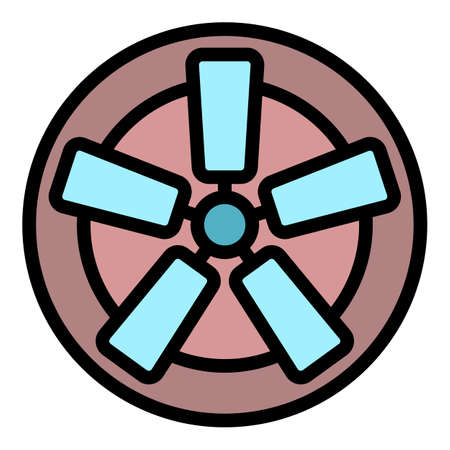 Fan with rectangular blades icon. Outline fan with rectangular blades vector icon color flat isolated