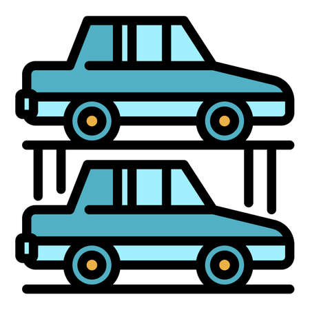 Car underground parking icon. Outline car underground parking vector icon color flat isolated Vecteurs