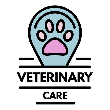 Veterinary care o. Outline veterinary care vector color flat isolated