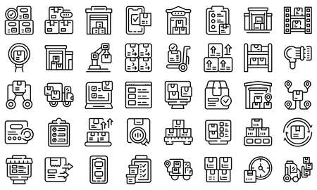 Inventory optimization icons set outline vector. Location management. Delivery shipment Ilustracje wektorowe
