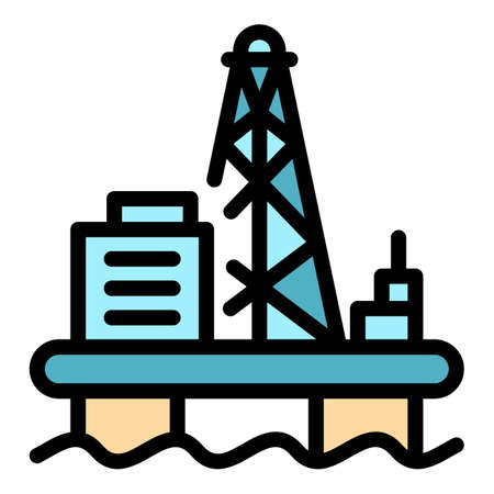 Offshore oil production icon. Outline offshore oil production vector icon color flat isolated