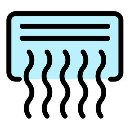 Working air conditioner icon. Outline working air conditioner vector icon color flat isolated Vector Illustration