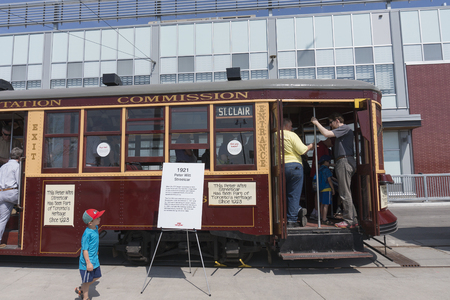 Visitors to Leslie Barns TTC (Toronto Transit Commission) were welcomed to tour the 1923 Peter Witt vintage streetcar on Doors Open Toronto 2016.