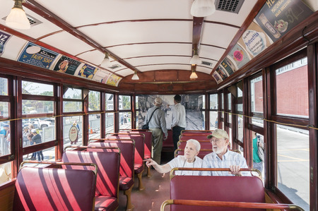 streetcar: Visitors to Leslie Barns TTC (Toronto Transit Commission) were riding on the 1923 vintage streetcar on Doors Open Toronto 2016.