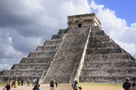 Temple of Kukulkan Pyramid (El Castillo) in Chichen Itza ruins, one of the Seven Wonders of the World and UNESCO World Heritage Site