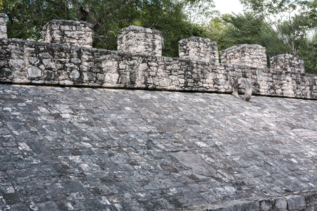 the stone ring on sloping side of the Ball Court at the Mayan Coba Ruins, Mexico Banque d'images