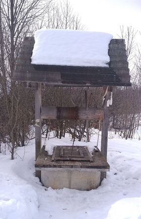 well, village, water, winter, snow, dial water, wooden well, water