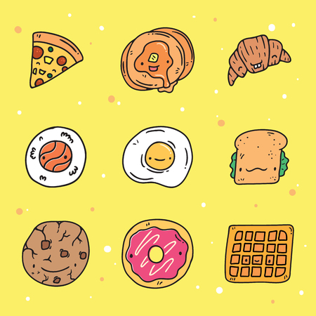 A vector set of cute hand drawn tasty food with cute faces. Perfect for t-shirt, greeting card, poster, stickers, invitation, icon.