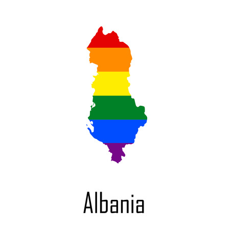 sex discrimination: Vector rainbow map of Albania in colors of LGBT - lesbian, gay, bisexual, and transgender - pride flag. In eps format.
