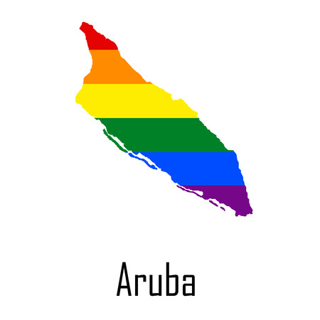 sex discrimination: Vector rainbow map of Aruba in colors of LGBT - lesbian, gay, bisexual, and transgender - pride flag. In eps format. Illustration
