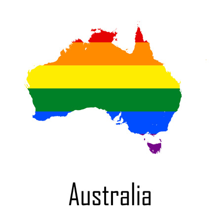 Vector rainbow map of Australia in colors of LGBT - lesbian, gay, bisexual, and transgender - pride flag. In eps format.