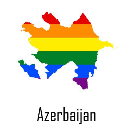Vector rainbow map of Azerbaijan in colors of LGBT - lesbian, gay, bisexual, and transgender - pride flag.