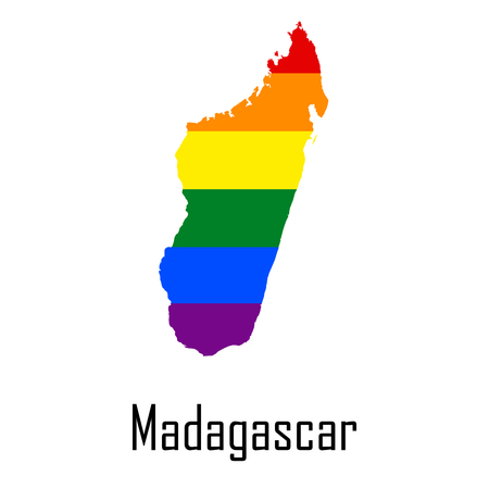 Vector rainbow map of Madagascar in colors of LGBT
