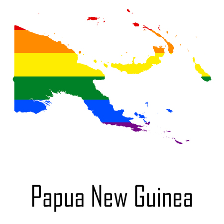 bisexual: Vector rainbow map of Papua New Guinea in colors of LGBT - lesbian, gay, bisexual, and transgender