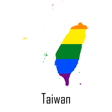 Vector rainbow map of Taiwan in colors of LGBT
