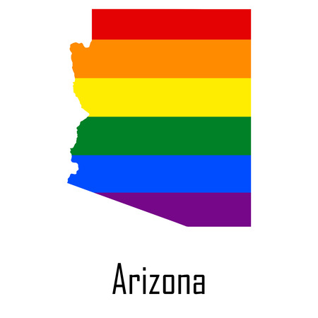 Vector rainbow map of Arizona in colors of LGBT - lesbian, gay, bisexual, and transgender - pride flag.