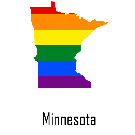 Vector rainbow map of Minnesota in colors of LGBT - lesbian, gay, bisexual, and transgender - pride flag.