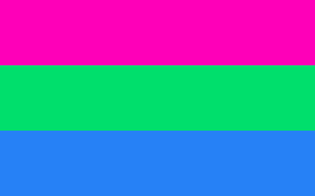 asexual: Polysexual pride flag in vector format. LGBT community flag.