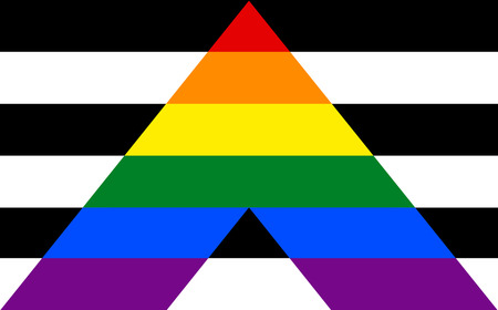 sexual orientation: Straight Allies pride flag in vector format. LGBT community flag. Illustration