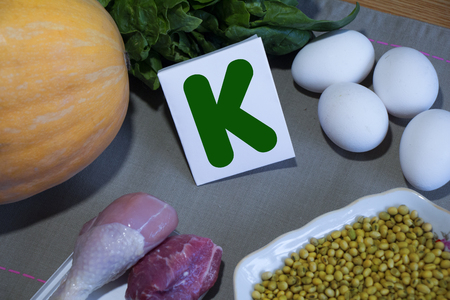 containing: Foods containing vitamin K : eggs, soy, meat, squash, spinach